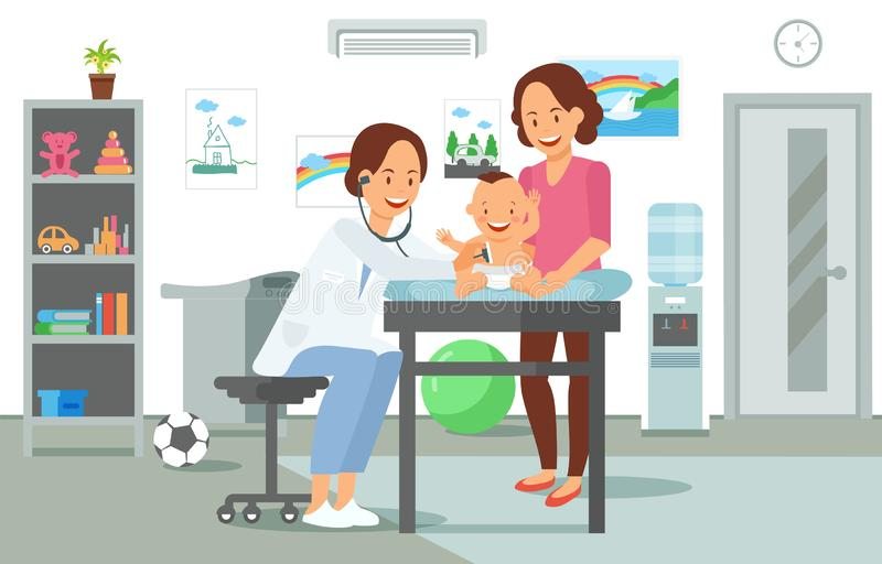 Onderzoek door Pediater Vector illustratie vector illustratie