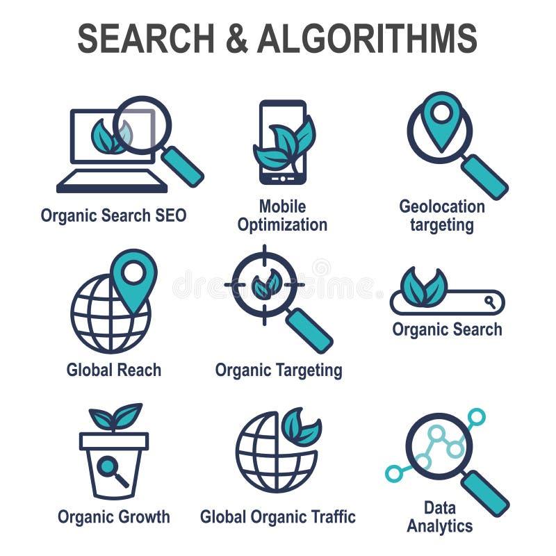Onderzoek en SEO Web Header Hero Image-Banner met de organische groei, royalty-vrije illustratie