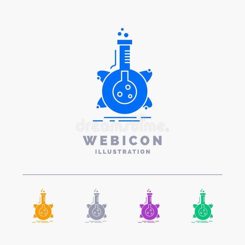 onderzoek, laboratorium, fles, buis, ontwikkeling 5 het Malplaatje van het het Webpictogram van Kleurenglyph op wit wordt geïsole vector illustratie