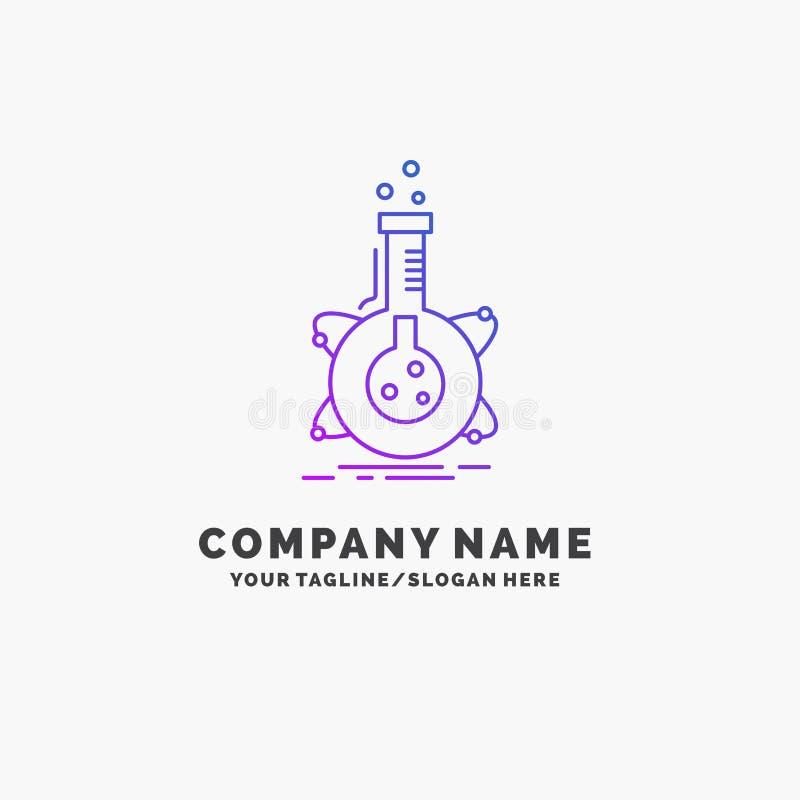 onderzoek, laboratorium, fles, buis, ontwikkelings Purpere Zaken Logo Template Plaats voor Tagline royalty-vrije illustratie