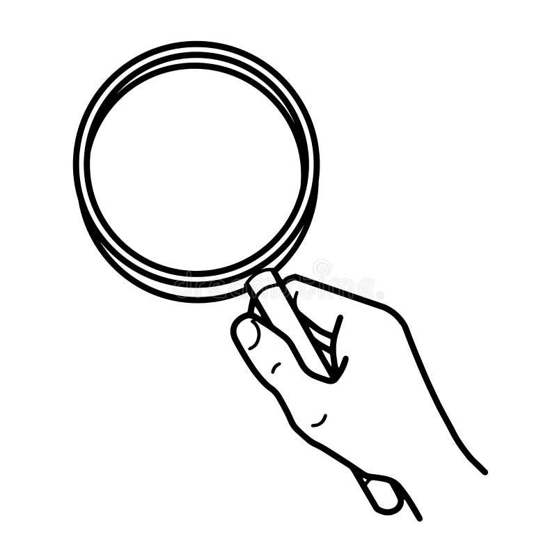 Onderzoek of onderzoekssymbool Hand die een vergrootglas houdt royalty-vrije illustratie
