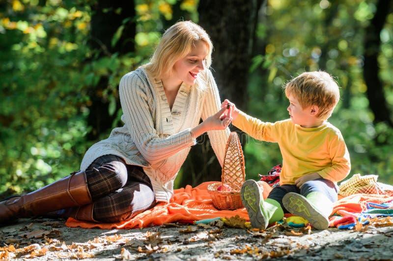 Onderzoek samen aard Mamma en jong geitjejongen die terwijl wandeling in bosfamiliepicknick ontspannen Moeder mooie vrouw en wein stock afbeeldingen