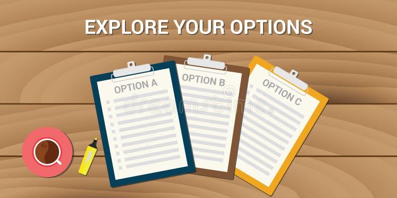 Onderzoek uw opties bedrijfsprobleemkeus royalty-vrije illustratie