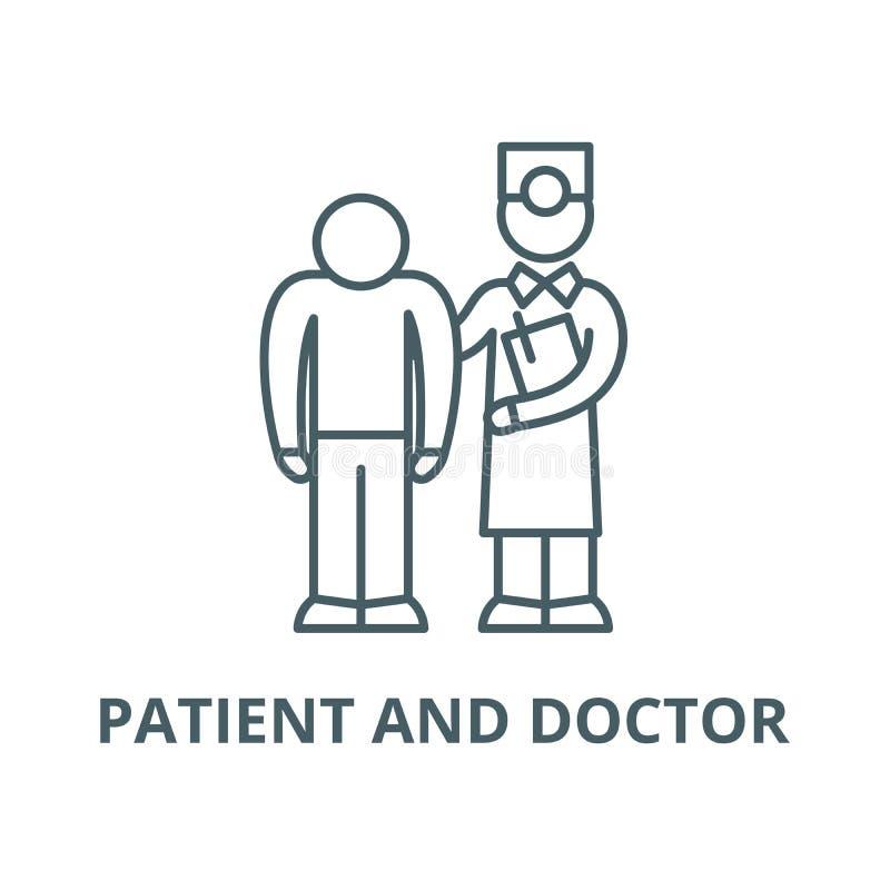 Onderzoek van de patiënt door het pictogram van de artsen vectorlijn, lineair concept, overzichtsteken, symbool vector illustratie