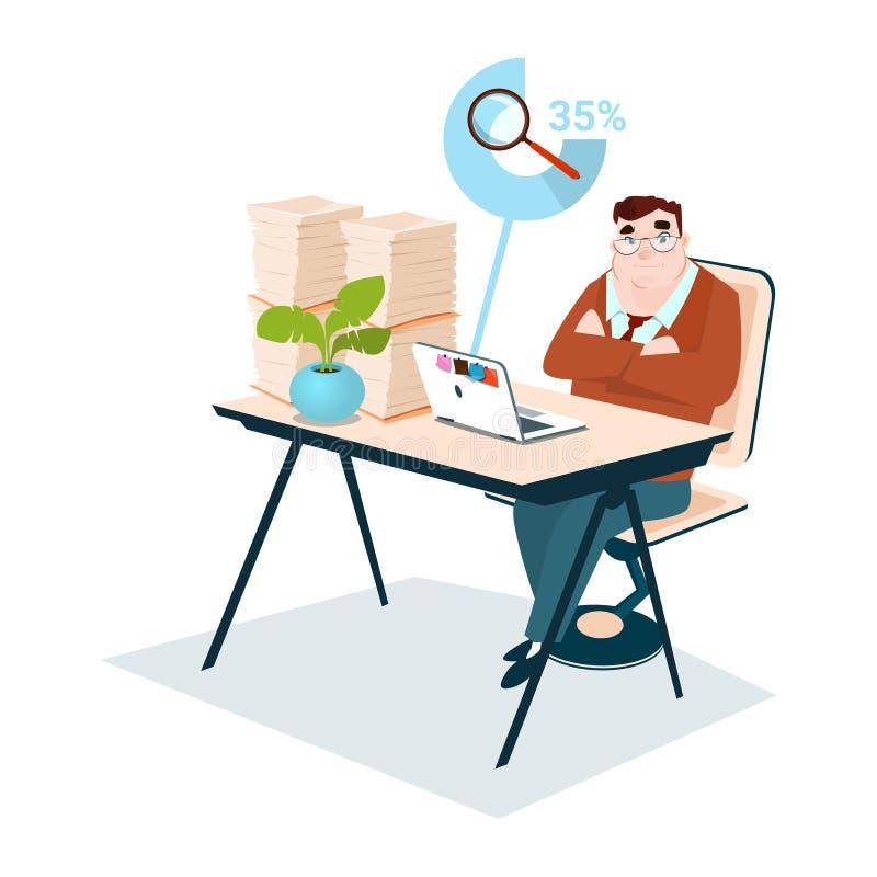 Onderzoek van het Vergrootglasgegevens van de bedrijfs het Mens Gestapelde Document Documentadministratie stock illustratie