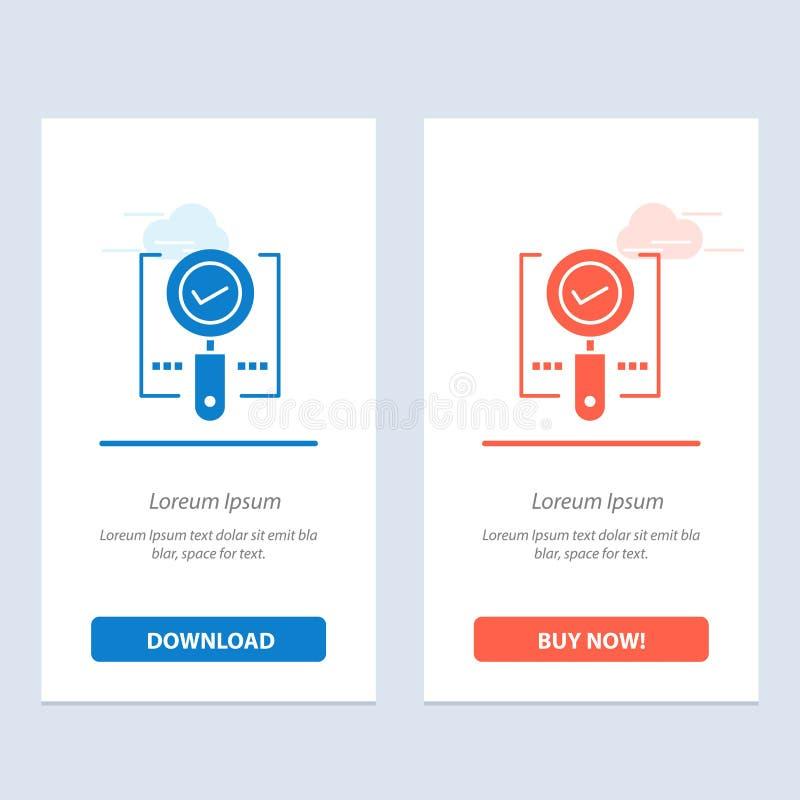Onderzoek, vind, O.k. Magnifier, zoek Blauwe en Rode Download en koop nu de Kaartmalplaatje van Webwidget royalty-vrije illustratie