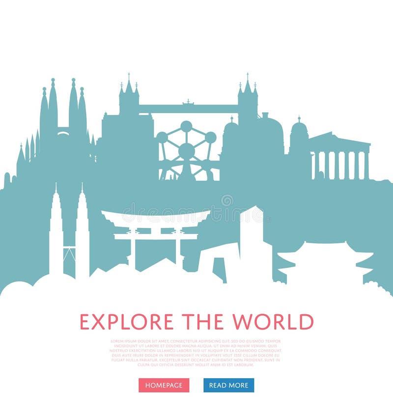 Onderzoek wereldconcept met cityscape silhouetten stock illustratie