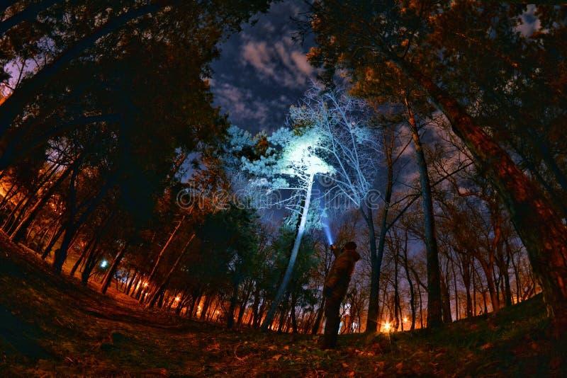 Onderzoeken openlucht bij nacht stock fotografie
