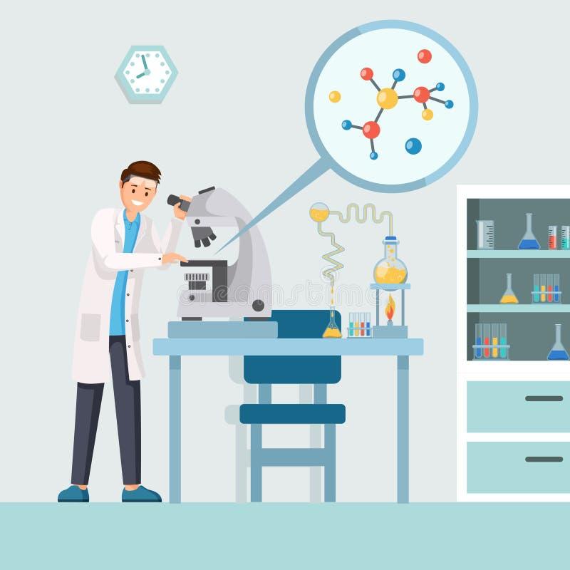 Onderzoeker met microscoop vectorillustratie Beeldverhaal mannelijke wetenschapper die testresultaten, moleculestructuur binnen b stock illustratie