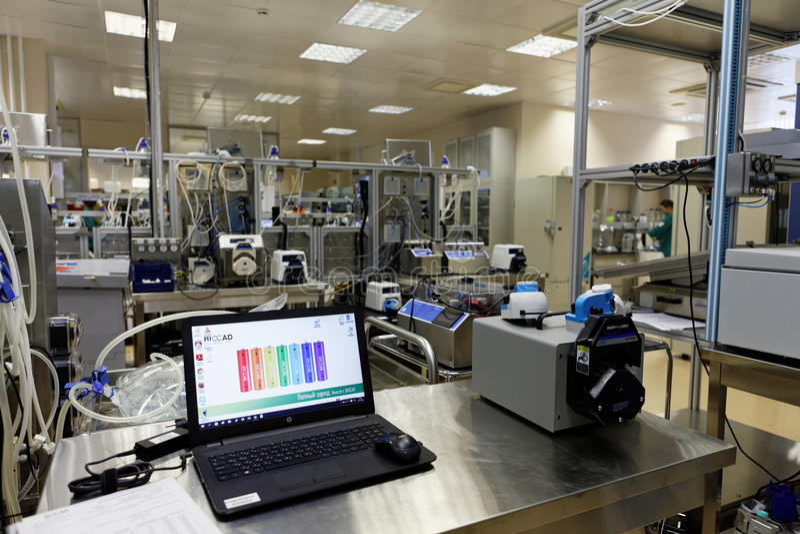 Onderzoeklaboratorium van biotechnologiebedrijf BIOCAD stock foto