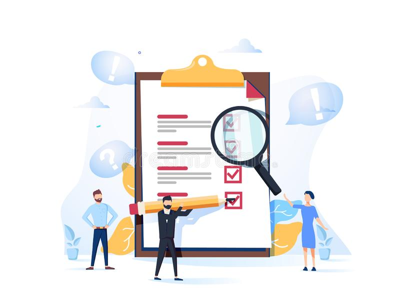 Onderzoeks vectorillustratie Vlak minipersonenconcept met van de kwaliteitstest en tevredenheid rapport Terugkoppeling van klante stock illustratie