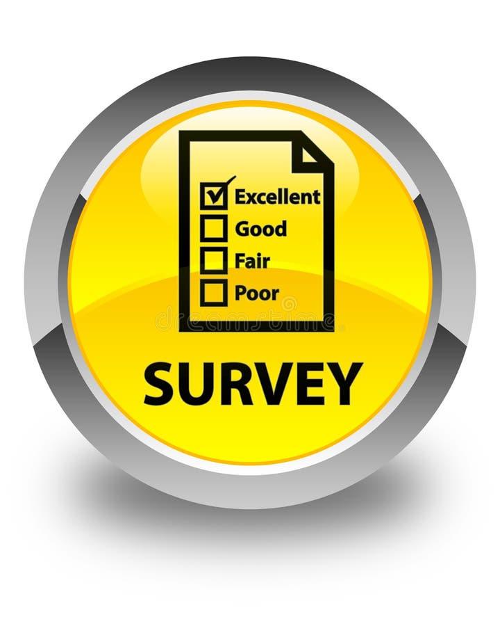 Onderzoeks (vragenlijstpictogram) glanzende gele ronde knoop stock illustratie