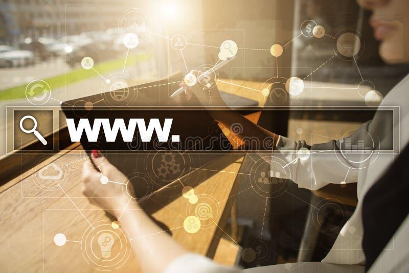 Onderzoeksbar met wwwtekst Webpagina en media speler en pictogramreeks Zaken, Internet en technologieconcept royalty-vrije stock afbeelding
