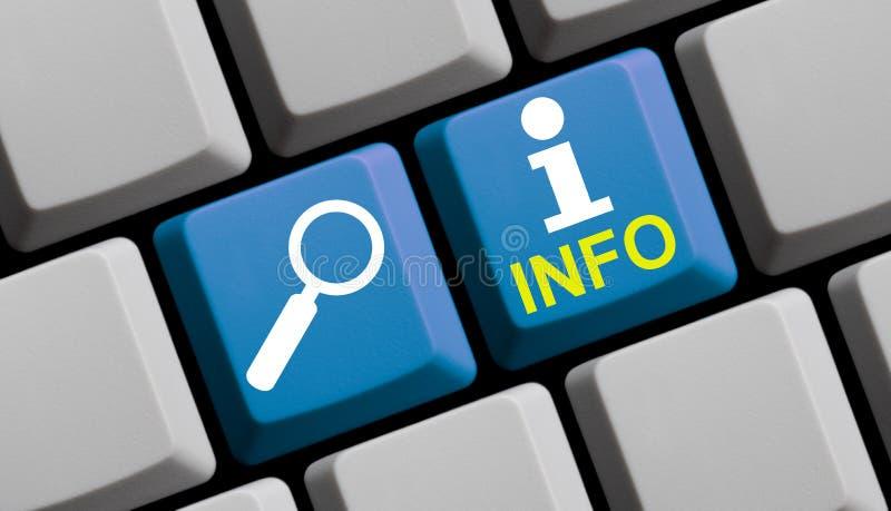 Onderzoeksinformatie online - Computertoetsenbord stock afbeelding
