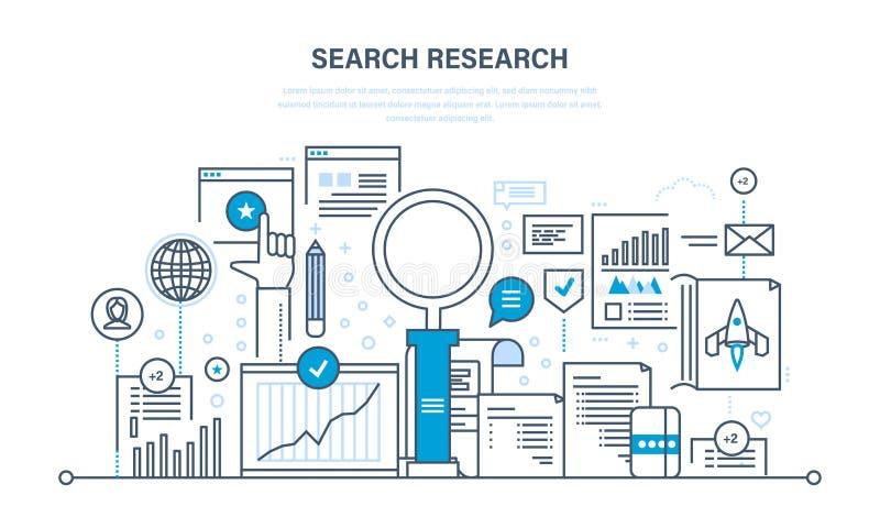 Onderzoeksonderzoek, analyse van informatie, de diensten, marketing, informatie, statistieken, analytics stock illustratie