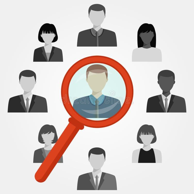 Onderzoekswerknemer voor rekruteringsagentschap stock illustratie