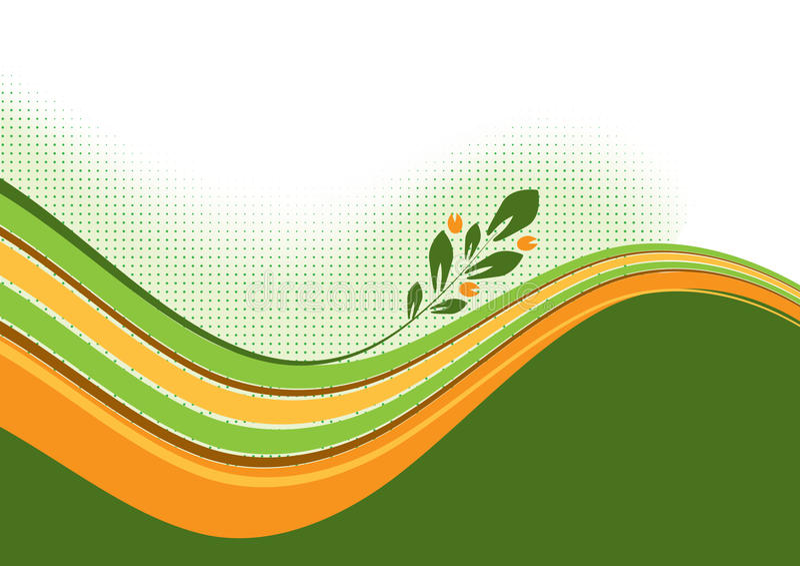 Ondes avec le branchement floral illustration de vecteur