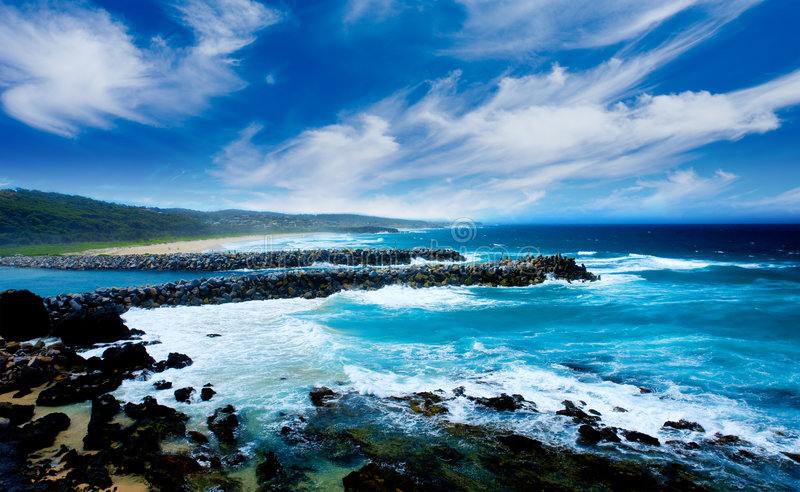 Ondes côtières image libre de droits