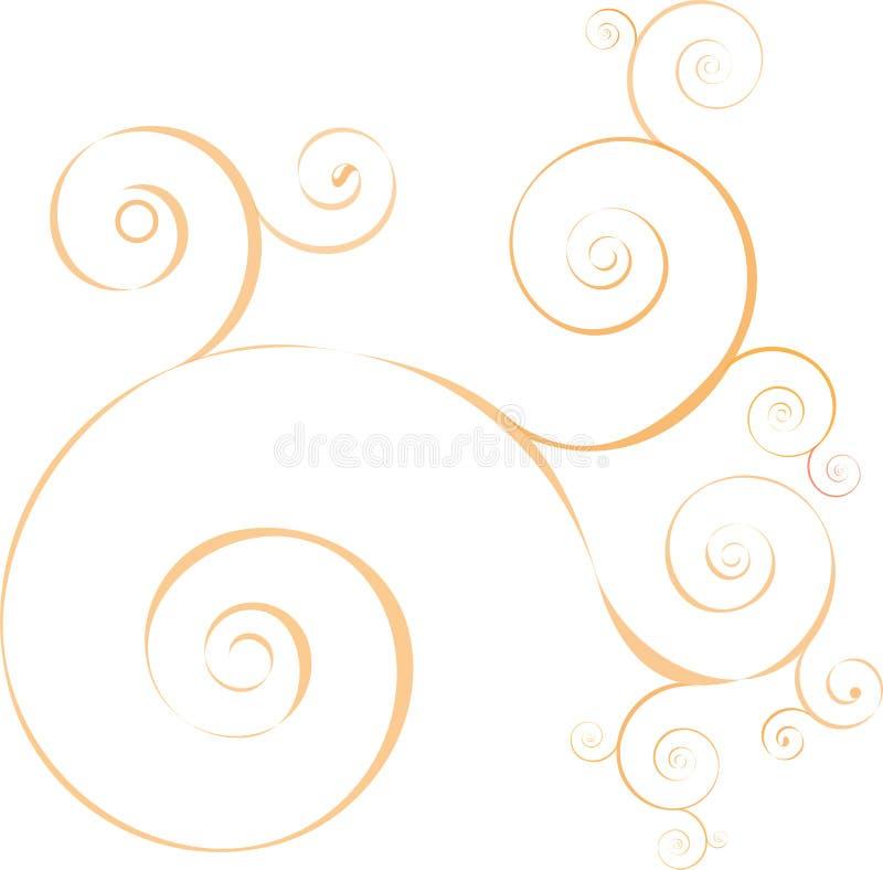 ondes décoratives circlular abstraites d'orange illustration libre de droits
