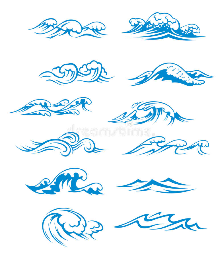 Ondes d'océan réglées illustration stock