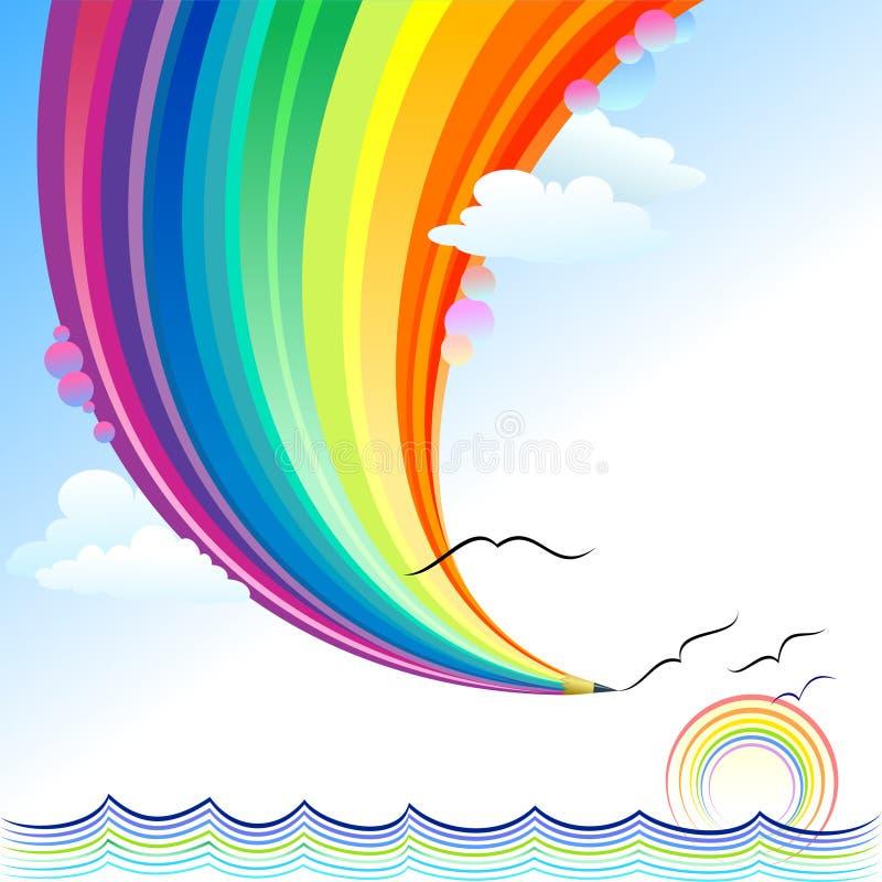 Ondes d'océan - série abstraite de crayon d'arc-en-ciel illustration libre de droits