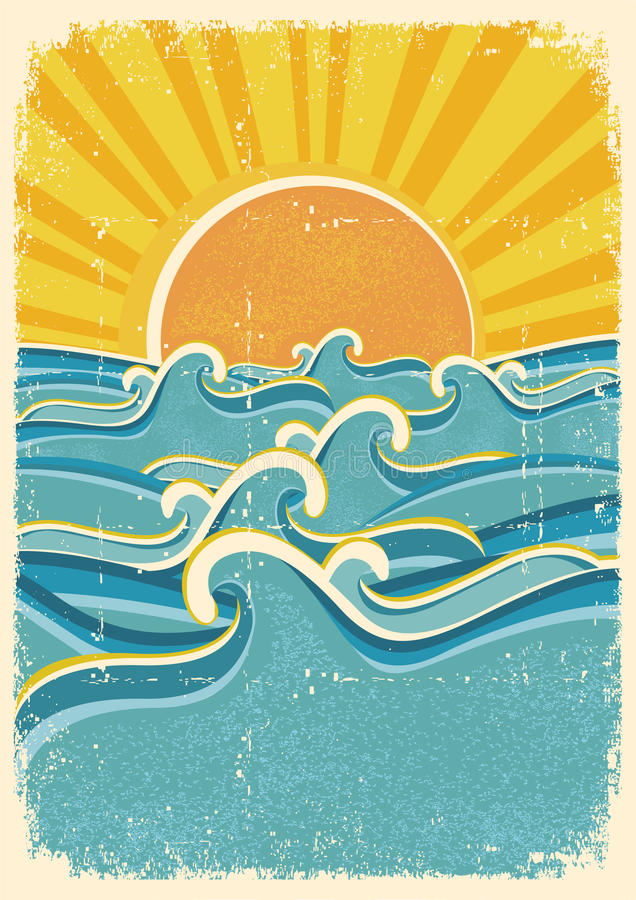 Ondes de mer et soleil jaune illustration stock