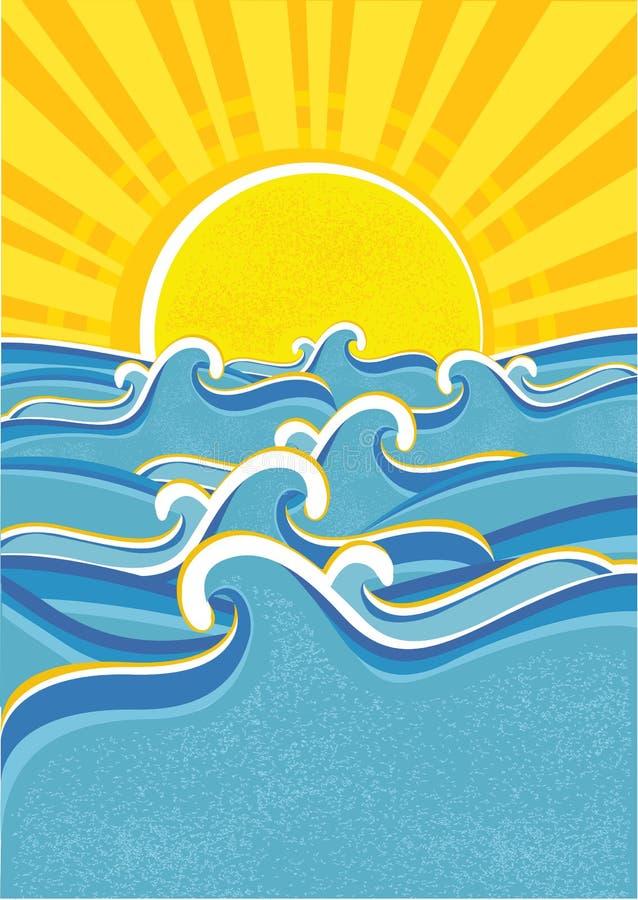 Ondes de mer et soleil jaune. illustration de vecteur