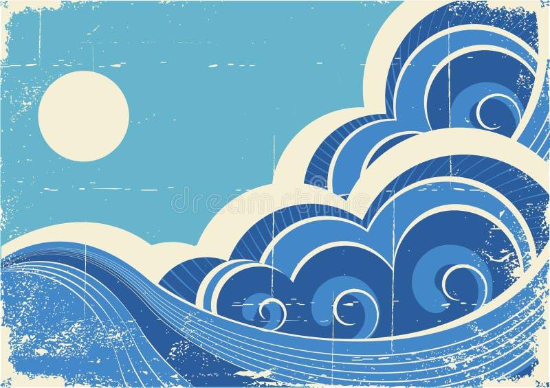 Ondes de mer. Grunge illustration libre de droits