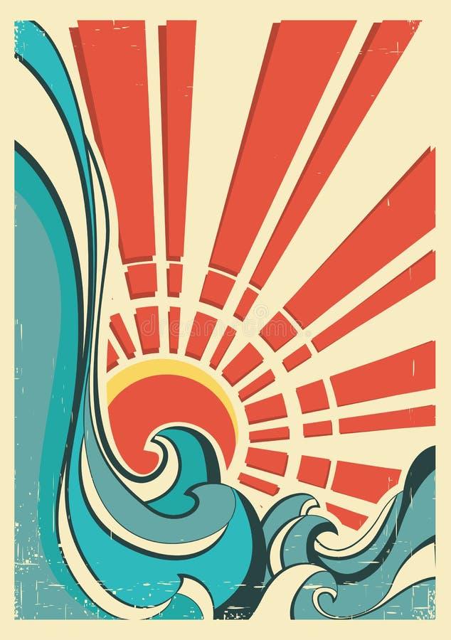 Ondes de mer. Illustration de cru d'affiche de nature illustration libre de droits