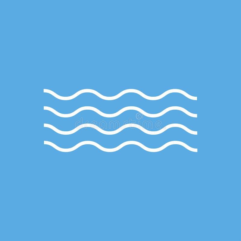 Ondes isolées vectorielles linéaires sur fond bleu Lignes vectorielles courbées Sigzag vectoriel Mer ou océan logotype illustration libre de droits