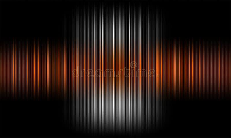 Ondes sonores audio d'égaliseur de Digital sur le fond noir, signal stéréo d'effet sonore illustration libre de droits
