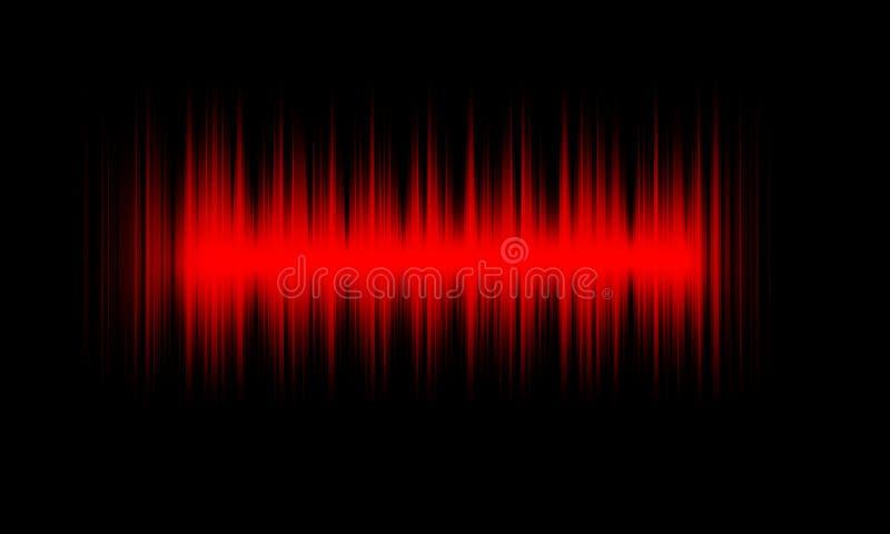 Ondes sonores audio d'égaliseur numérique rouge sur le fond noir, illustration stock