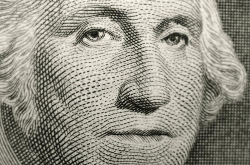 Ondiep nadrukbeeld van de oprichtende vader van de Verenigde Staten van Amerika, voorzitter George Washington stock fotografie