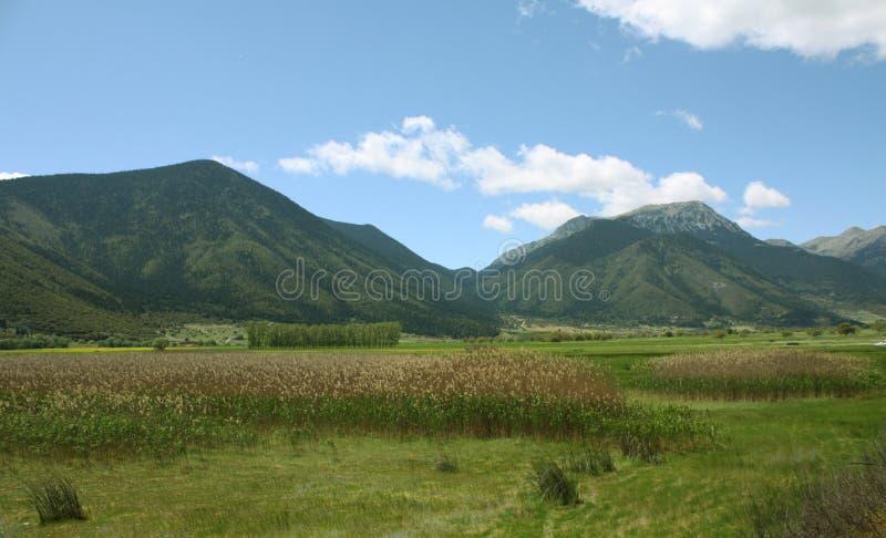 Ondiepe rivier met grote bergen die het omringen royalty-vrije stock afbeelding
