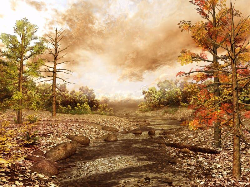Ondiepe stroom in een bos stock illustratie
