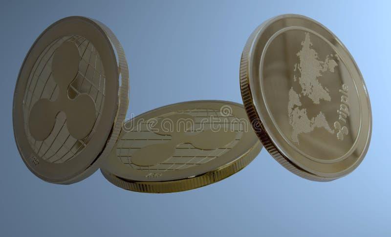 Ondinha cripto da moeda no fundo azul ilustração do vetor