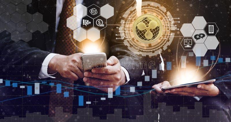 Ondinha XRP e conceito da troca de Cryptocurrency imagem de stock