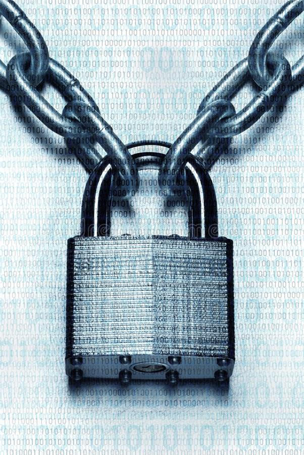 Ondoordringbaar digitaal veiligheidsconcept Gesloten hangslot en ketting royalty-vrije stock afbeelding