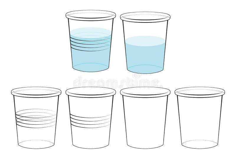 Ondoorzichtig en transparant plastiek en document glas stock illustratie