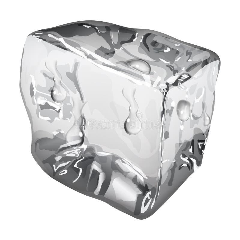 Ondoorzichtig ijsblokje met waterdalingen royalty-vrije illustratie