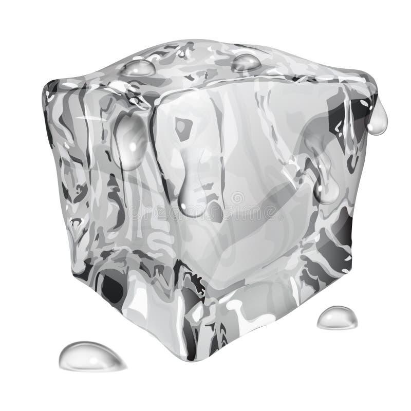 Ondoorzichtig ijsblokje met waterdalingen vector illustratie
