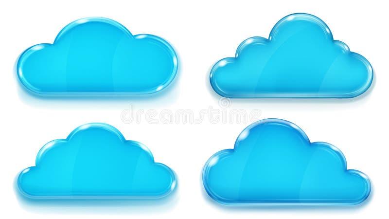 Ondoorzichtige blauwe glaswolken royalty-vrije illustratie