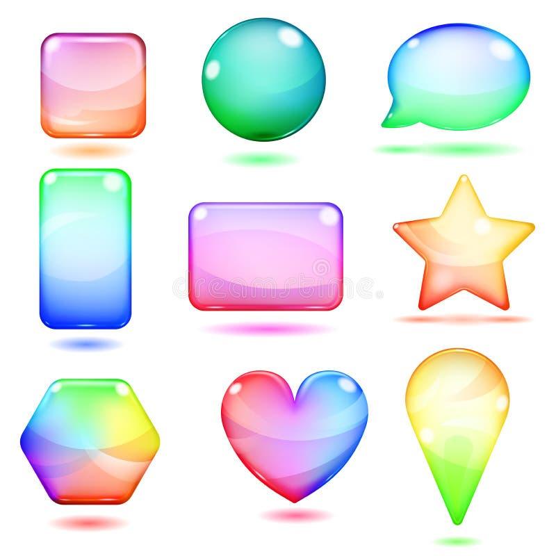 Ondoorzichtige multicolored glasvormen royalty-vrije illustratie