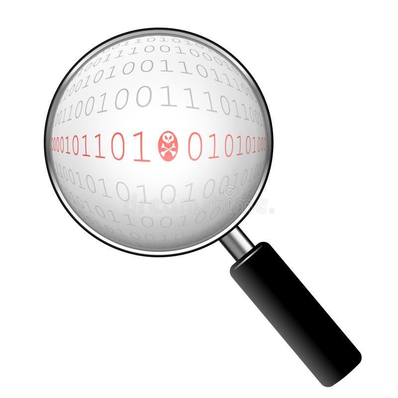 ondsint zoom för binär kod stock illustrationer