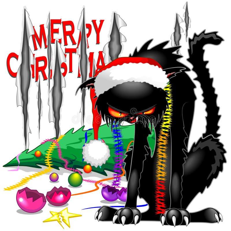 Ondska svarta Cat Broken Christmas Tree vektor illustrationer