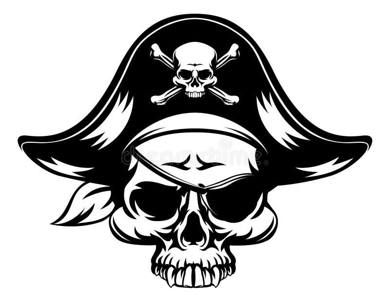 ondskan piratkopierar skallen royaltyfri illustrationer
