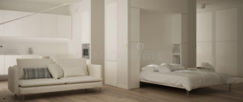 Onduidelijk beeld binnenlands ontwerp als achtergrond, één ruimteflat met Murphy-muurbed, keuken, woonkamer met bank Parket en mi stock illustratie