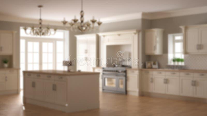 Onduidelijk beeld binnenlands ontwerp als achtergrond, klassieke uitstekende luxekeuken, eiland met twee grote lampen van de kroo vector illustratie