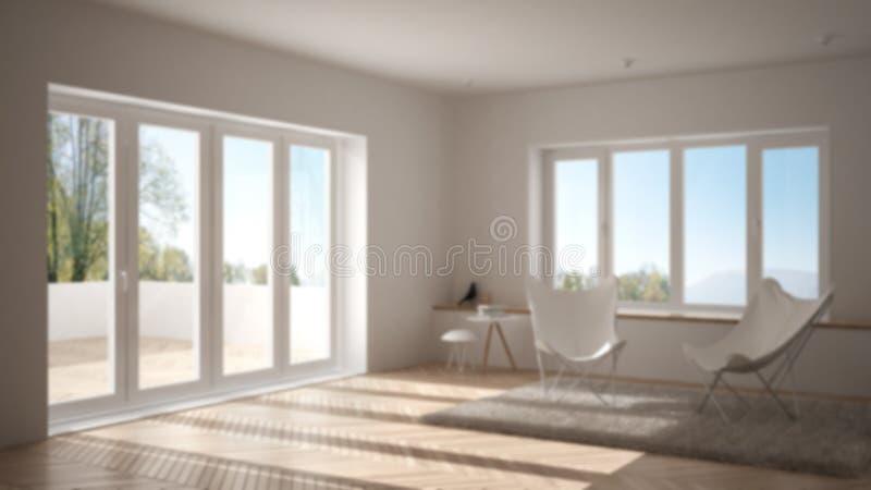 Onduidelijk beeld binnenlands ontwerp als achtergrond, minimale woonkamer met leunstoeltapijt, parketvloer en panoramisch venster stock fotografie