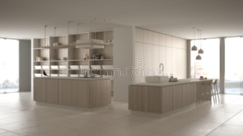 Onduidelijk beeld binnenlands ontwerp als achtergrond, minimalistische van het van de van het luxe dure keuken, eiland, gootsteen vector illustratie